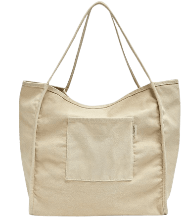 Fabric tote bag with pocket detail - pull&bear