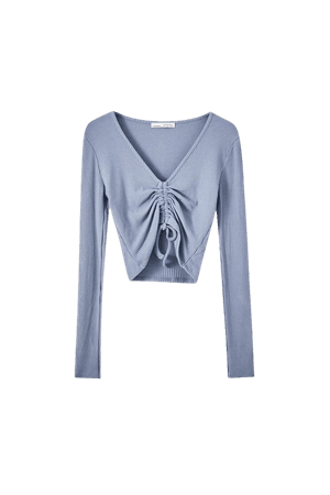 Ribbed T-shirt with ruched front - pull&bear