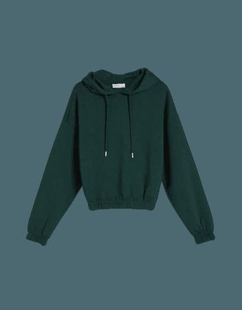 Drawstring hooded sweatshirt - New - Woman | Bershka