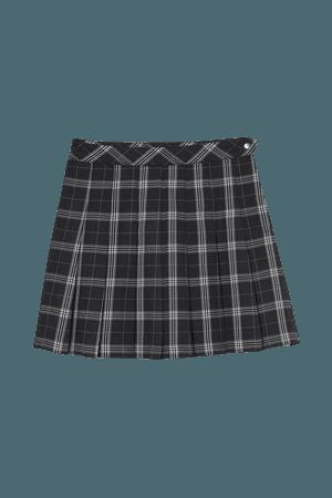 Short Pleated Skirt - Black/white plaid - Ladies | H&M US