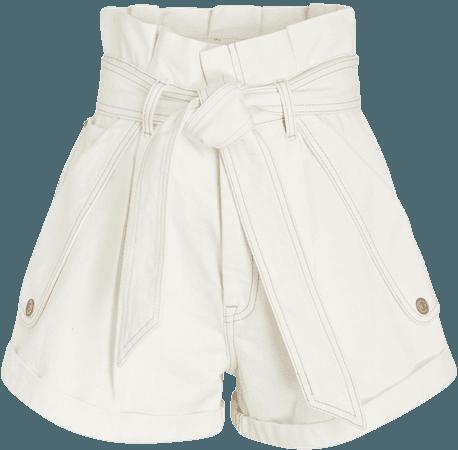 Zimmermann Vintage White Denim Paperbag Shorts | INTERMIX®