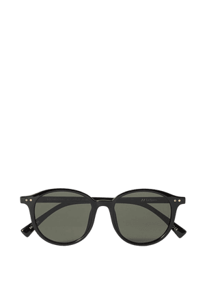 Black Equinoctial round-frame acetate sunglasses | Le Specs | NET-A-PORTER