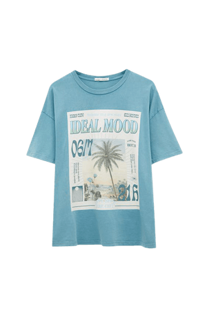 Green T-shirt with photo illustration - pull&bear