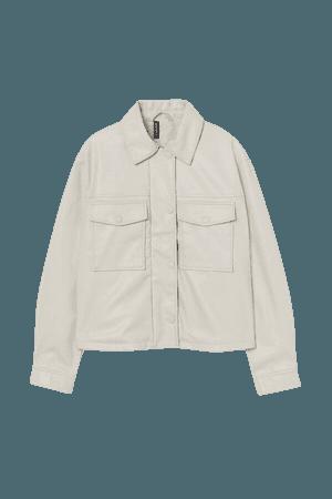 Crop Faux Leather Jacket - Beige