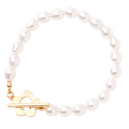 Gold Daisy & Pearl Toggle Clasp Bracelet | Claire's US