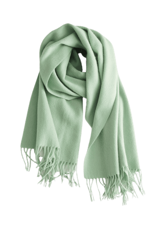 Wool Fringed Blanket Scarf - Pistachio Green - Fall & Winterscarves - & Other Stories