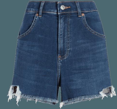 Super High Waisted Knit Raw Hem Mom Jean Shorts   Express