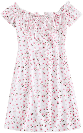 Floerns Women's Frill Tie Front Ditsy Floral Short Sleeve A Line Dress at Amazon Women's Clothing store