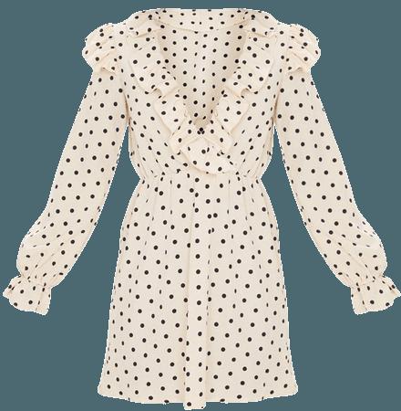 Cream Polka Dot Frill V Neck Shift Dress   PrettyLittleThing USA