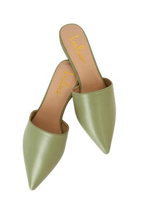 Chic Sage Green Slides - Pointed Toe Slides - Pointed Toe Mules - Lulus