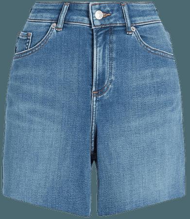 High Waisted Knit Raw Hem Curvy Jean Shorts   Express