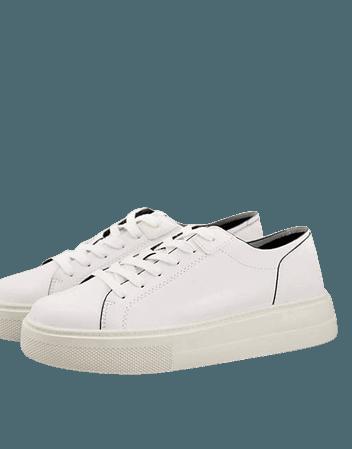 Pull&Bear flatform sneaker in white | ASOS