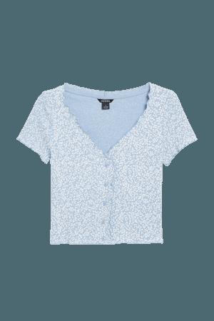 Lettuce hem crop top - Light blue - T-shirts - Monki WW