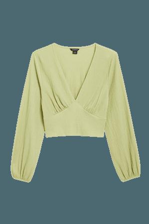 Deep v-neck blouse - Green - Shirts & Blouses - Monki WW