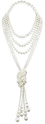 """Amazon.com: BABEYOND 1920s Imitation Pearls Necklace Gatsby Long Knot Pearl Necklace 49"""" and 59"""" 20s Pearls 1920s Flapper Accessories (Knot Pearl Necklace2 + 59"""" Necklace1): Clothing"""