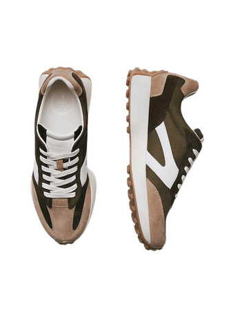 Χακί δερμάτινα sneakers με κομμάτια σε συνδυασμό - Mulher - Massimo Dutti