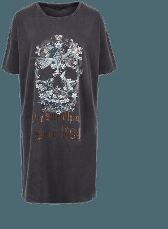 ALLSAINTS US: Womens Skull T-Shirt Dress (washed_black)