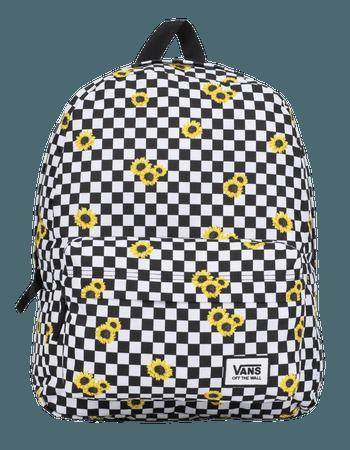 VANS Realm Sunflower Checkerboard Backpack - BLKWH - TBD SMU SUNFLR   Tillys