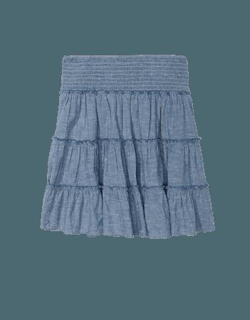 AE Chambray Smocked Tiered Mini Skirt