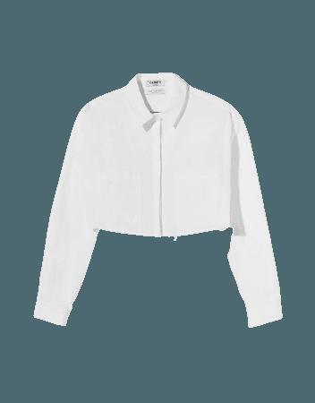 Cropped poplin shirt - Shirts and blouses - Woman | Bershka