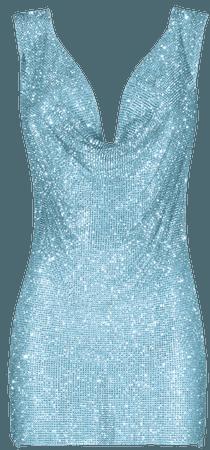 Aqua crystals embellished draped dress | DAN MORE | Official site