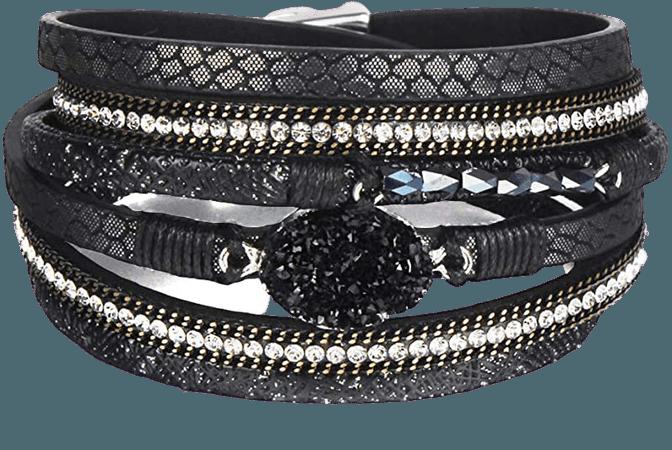 "Leather Wrap Bracelet Boho Cuff Bracelets Crystal Bead Bracelet with Magnetic Clasp for Women Handmade Layered Bracelet for Women Teens(14.7"", Black): Clothing"