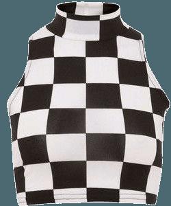 Parisian Monochrome Check Print High Neck Crop Top