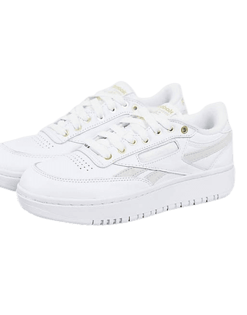 Reebok Club C Double sneakers in white and chalk   ASOS