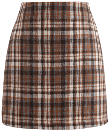 Plaid Wool-Blend Bud Skirt in Tan - Retro, Indie and Unique Fashion
