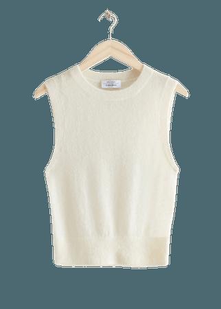 Alpaca Blend Knit Vest - White - Vests - & Other Stories