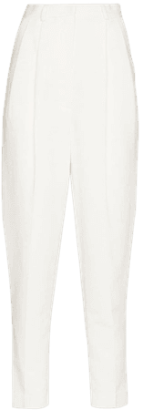 Shop white ANOUKI high-rise tapered trousers with Express Delivery - Farfetch