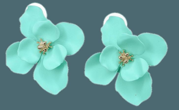 floral earrings teal