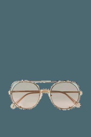 Gold Round-frame gold-tone sunglasses | Chloé | NET-A-PORTER