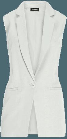 Sleeveless Linen One-button Blazer | Express