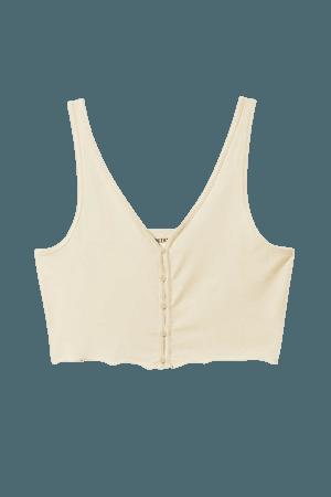 Viola Crop Tank Top - Off-white - Tops - Weekday WW