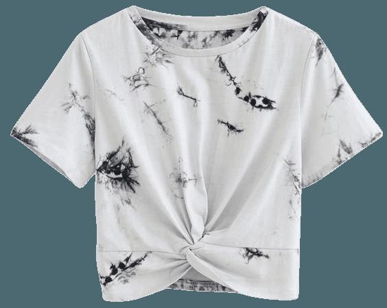 Twist Hem Tie Dye Crop Top in Smoke - Retro, Indie and Unique Fashion