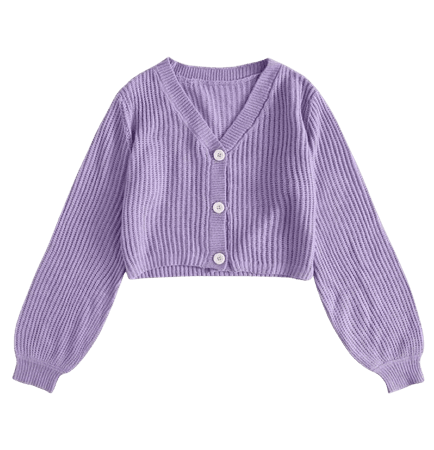 cropped lavender cardigan