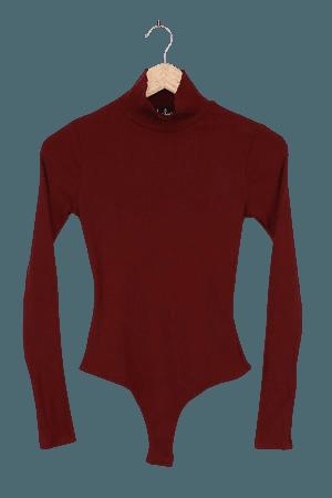 Classic Burgundy Bodysuit - Mock Neck Bodysuit - Ribbed - Lulus