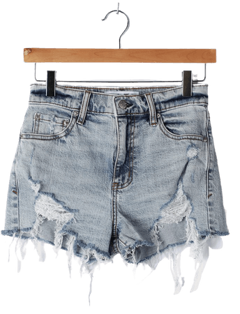 Daze Denim Troublemaker - High Rise Shorts - Light Wash Shorts - Lulus