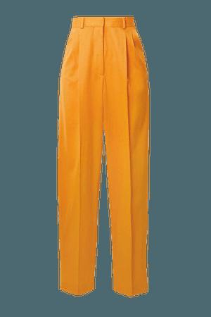 Cosmos Pleated Wool-blend Twill Straight-leg Pants - Yellow