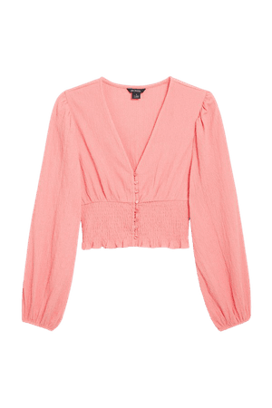 Shirred waist blouse - Pink - Shirts & Blouses - Monki WW