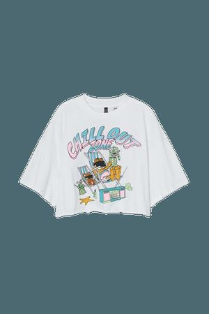 Printed Crop T-shirt - White/Garfield - Ladies | H&M US