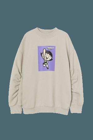 Oversized Sweatshirt - Brown