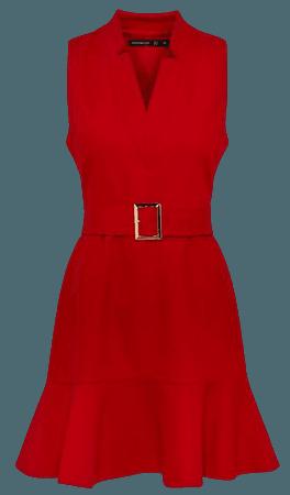 Notch Neck Belted Peplum Dress | Karen Millen