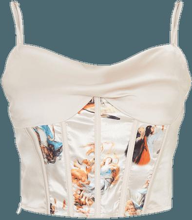 Champagne Satin Cowl Neck Structured Waist Print Detail Cami | PrettyLittleThing USA
