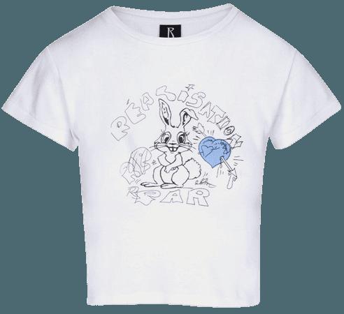 Bunny Tee | Blue Heart - Baby Tee | Réalisation par