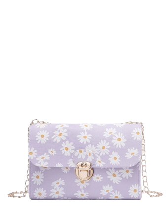 Daisy Print Chain Crossbody Bag | SHEIN USA