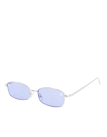 ASOS DESIGN 90s mid square sunglasses with daisy detail in blue | ASOS