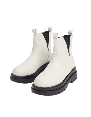 RAID Brazen chunky biker boots in bone | ASOS