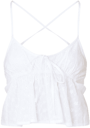 White Broderie Anglaise Strappy Cami Top | PrettyLittleThing USA